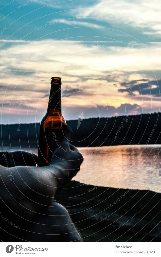 Cold beer on summer lake Beer Bottle Freedom Summer Relaxation Drinking Sky Sunrise Sunset Lake Sit Infinity Warmth Contentment Leisure and hobbies To enjoy