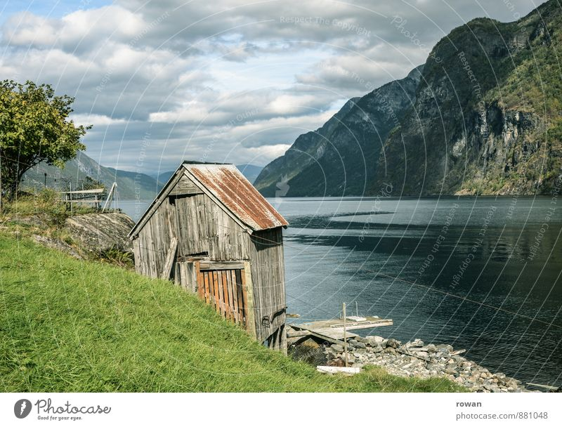 hut Nature Landscape Hill Rock Mountain Coast Bay Fjord Ocean Fishing village House (Residential Structure) Hut Calm Norway Wooden house Idyll Old Hiking