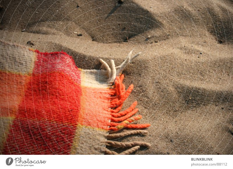 Vacation & Travel Summer Ocean Beach Coast Sand Orange Earth Lie Checkered Blanket Wool Weekend Elbstrand