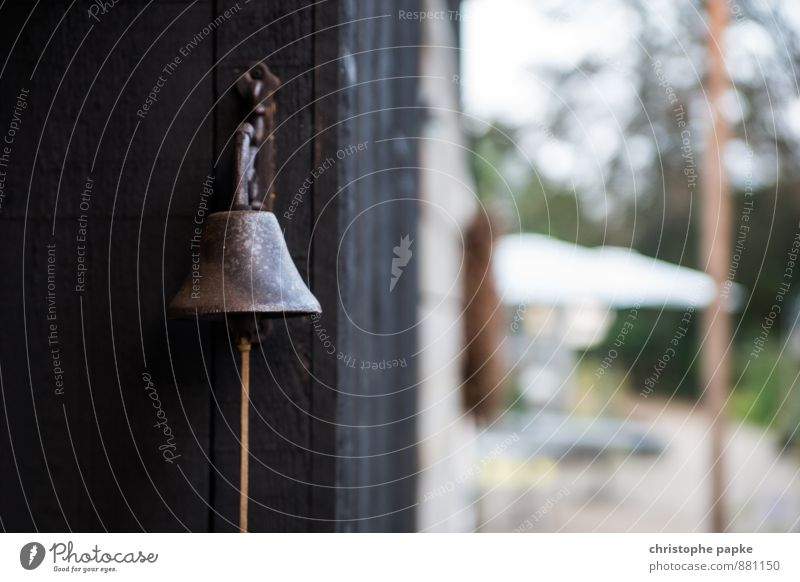 Please do not hang at the big bell Garden Wall (barrier) Wall (building) Metal Rust Old Bell chime ring the bell Wake garden furniture Bronze Sound Colour photo