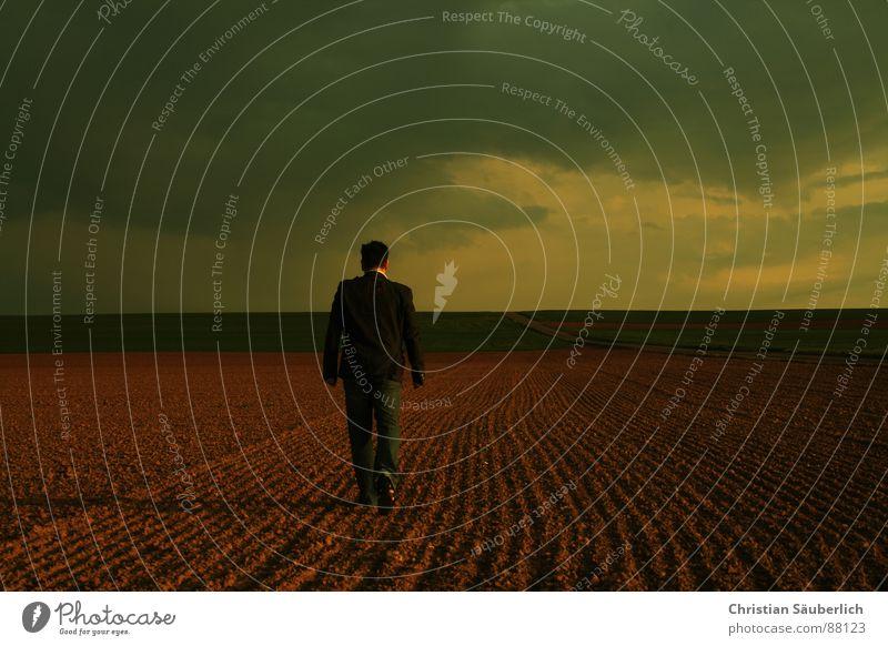 Man Sky Loneliness Meadow Field Going Horizon