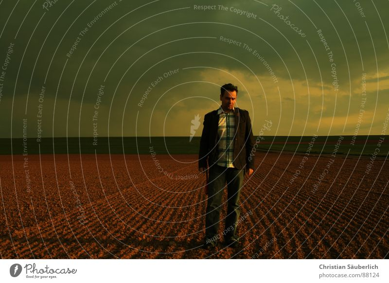 alone Going Field Meadow Horizon Sunset Man Clean cleanly Sky Loneliness Shadow christian