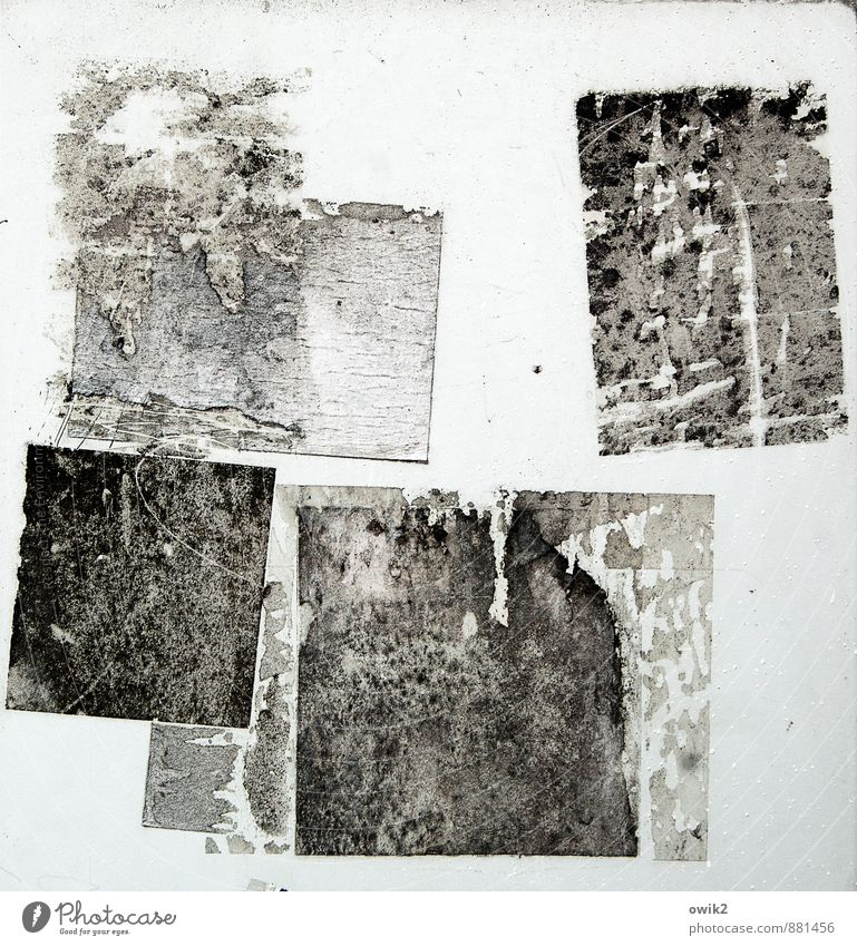 IT Remainder Adhesive Rectangle Metal Plastic Old Dirty Together Hideous Trashy Gloomy Stick Claw mark Label Ravages of time Black & white photo Exterior shot