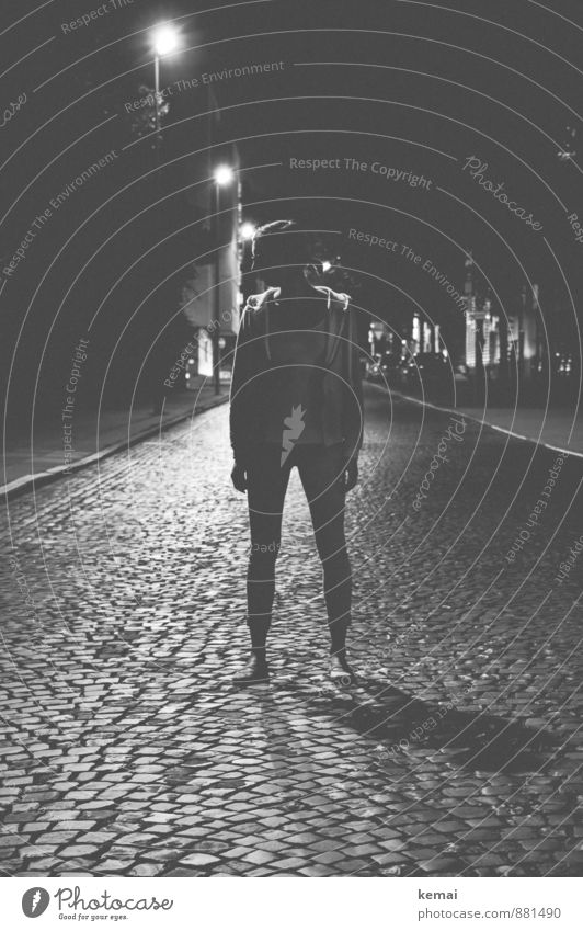 Black and Grey Lifestyle Human being Feminine Young woman Youth (Young adults) Body 1 Town Downtown Old town Street lighting Cobblestones Stand Dark Thin