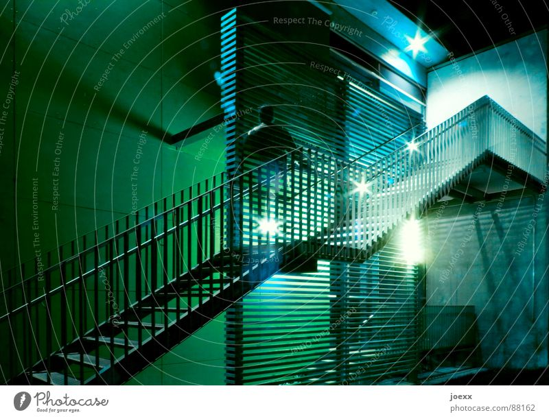 Ascent without abdomen Go up Dark Ghostly Green Career Long exposure Light Wall (barrier) Night Night shot Upper body Informer Detail Man Stairs Blue Appearance