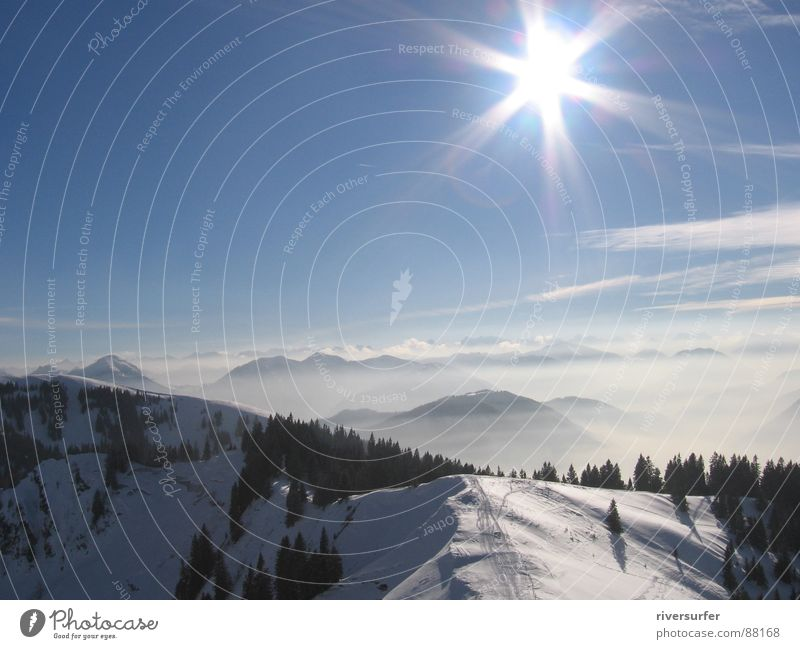 Nature Sun Winter Snow Mountain Fog Environment Energy industry Level Alpine pasture Vail Mountain range Wilderness Comb Mountain meadow Natural phenomenon