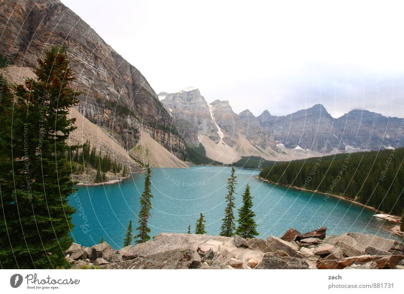 moraine lake Far-off places Nature Landscape Water Sky Clouds Summer Autumn Plant Tree Coniferous trees Coniferous forest Forest Hill Rock Mountain