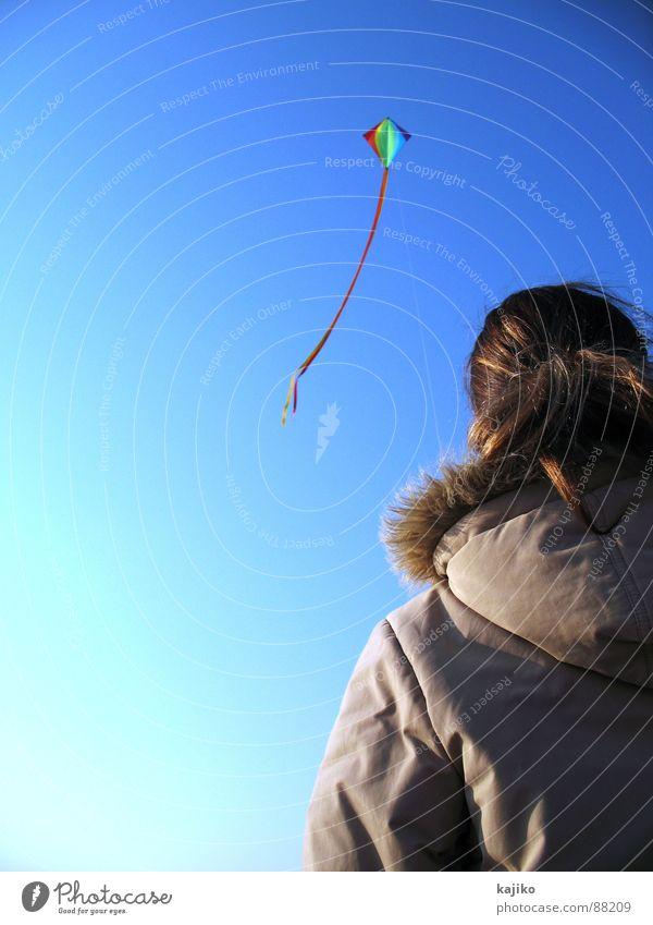 Woman Sky Sun Ocean Blue Joy Beach Loneliness Autumn Freedom Sand Coast Flying Free Beautiful weather Dragon