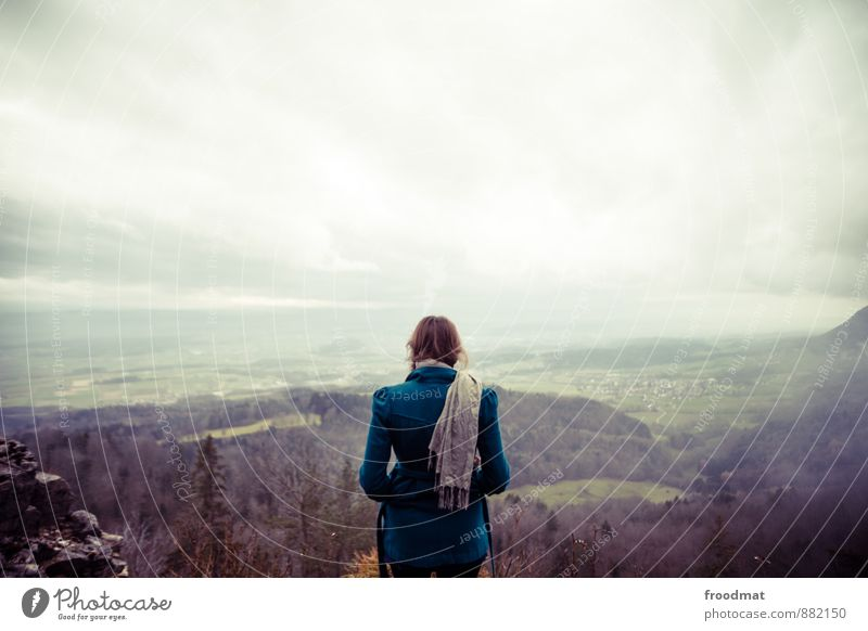Human being Woman Sky Nature Youth (Young adults) Young woman Loneliness Landscape Environment Cold Adults Mountain Autumn Feminine Horizon Dream