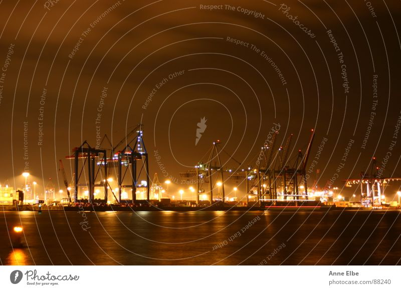 Port of Hamburg Night Germany Sky Harbour Night shot long exposure St. Pauli