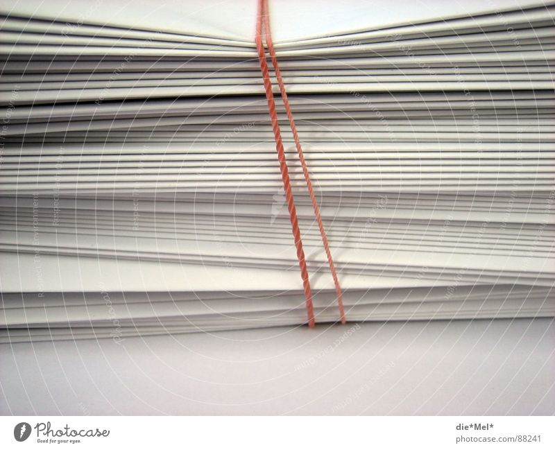 Bundled Paper Red White Stack Together Folds Consecutively Things Elastic band