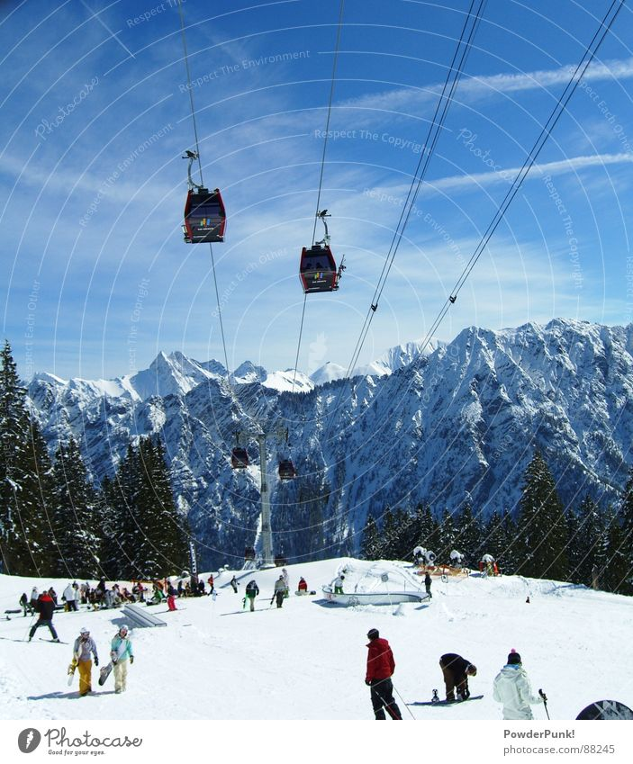 Sky Blue Landscape Clouds Winter Mountain Snow Style Tourism Snowcapped peak Skiing Ski resort Tourist Snowscape Winter sports Allgäu