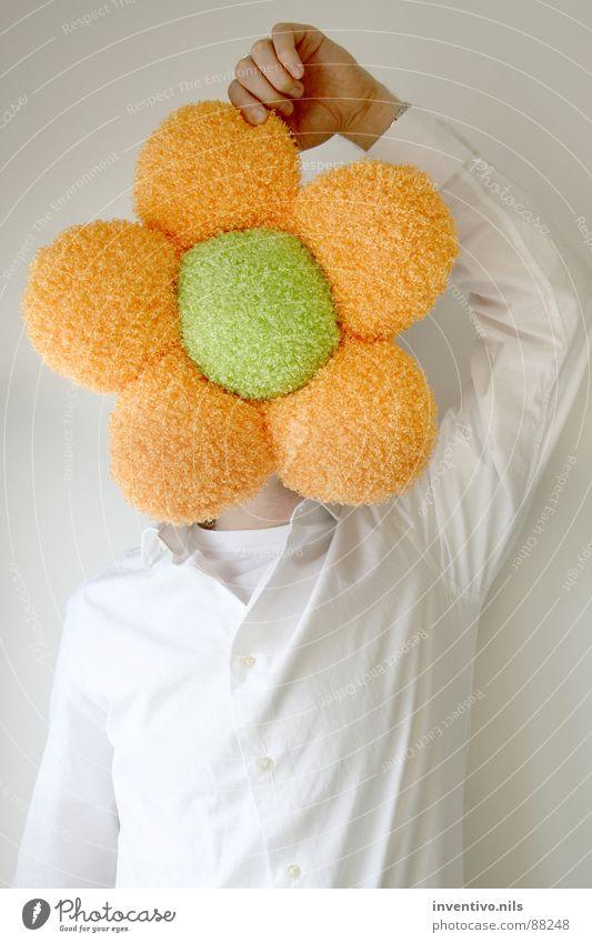 Man White Flower Green Plant Joy Work and employment Head Orange Cloth Shirt