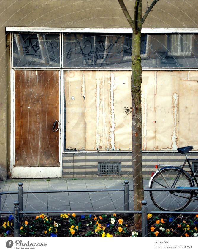 Old Flower Loneliness Brown Bicycle Time Store premises Derelict Former Yellowed