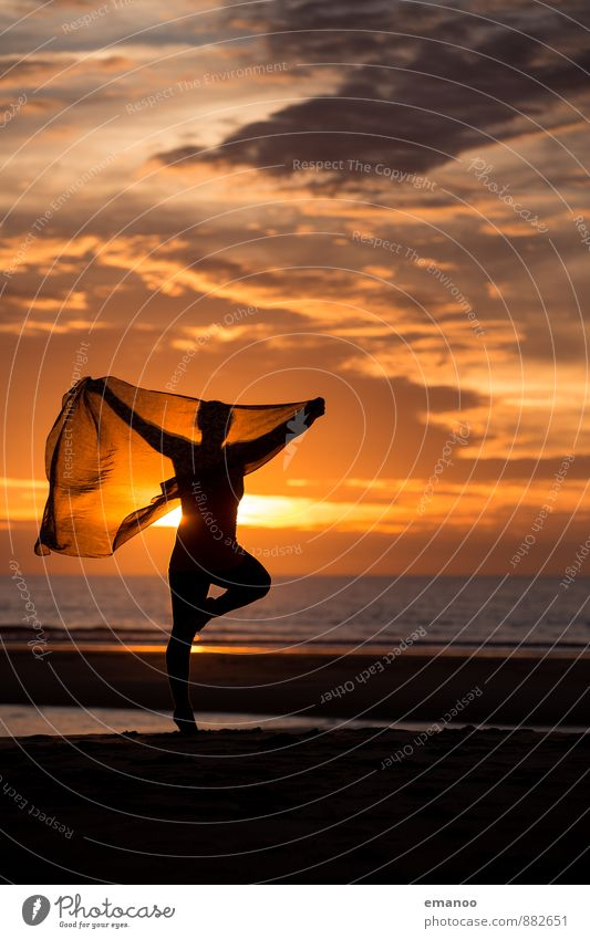 silhouette sunset dance Lifestyle Style Joy Well-being Contentment Leisure and hobbies Vacation & Travel Far-off places Freedom Summer Summer vacation Sun Beach