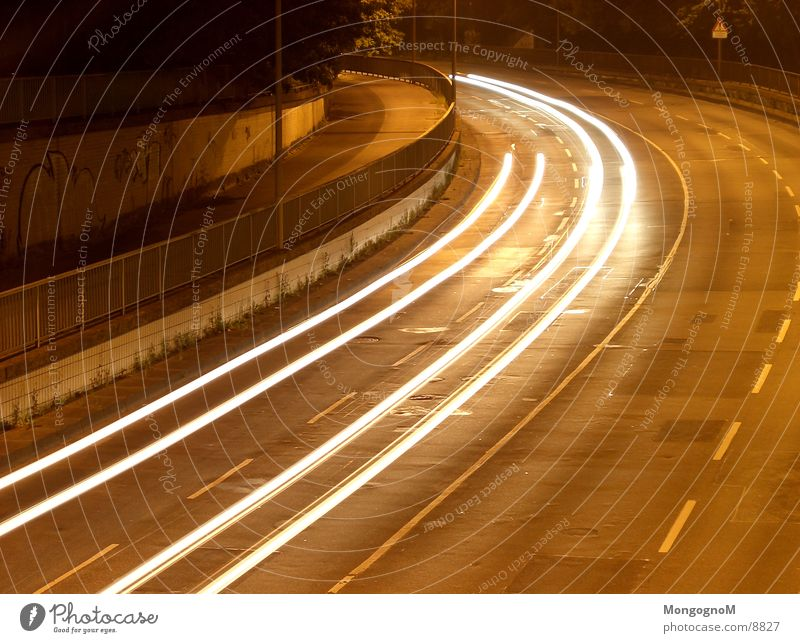 curve Night Speed Light Tracer path Long exposure Curve Street