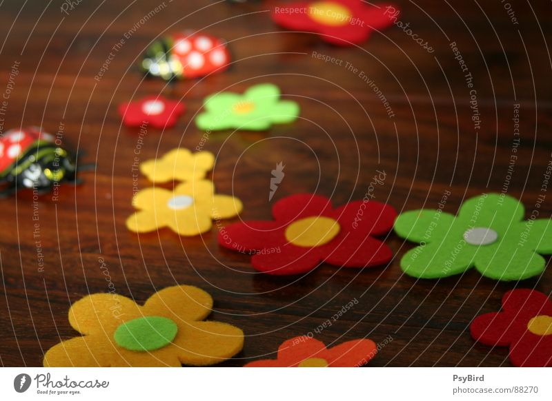 Flower Spring Wood Table Decoration Furniture Ladybird Beetle