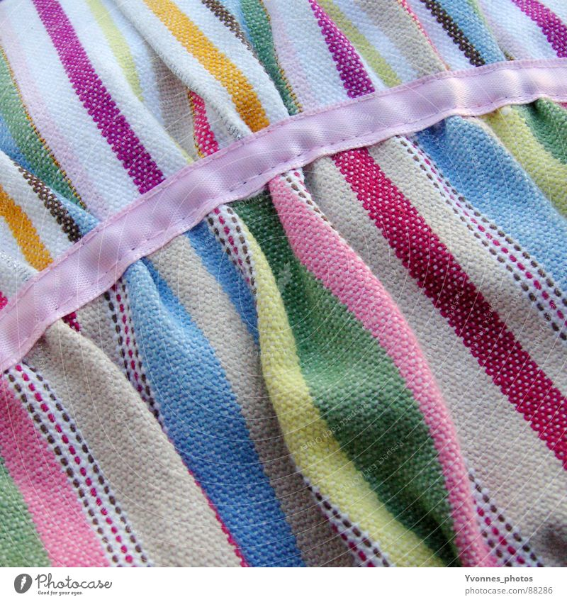 Blue Green Colour Yellow Jump Spring Pink Stripe Cloth Decoration Soft Wrinkles Violet String Square Material