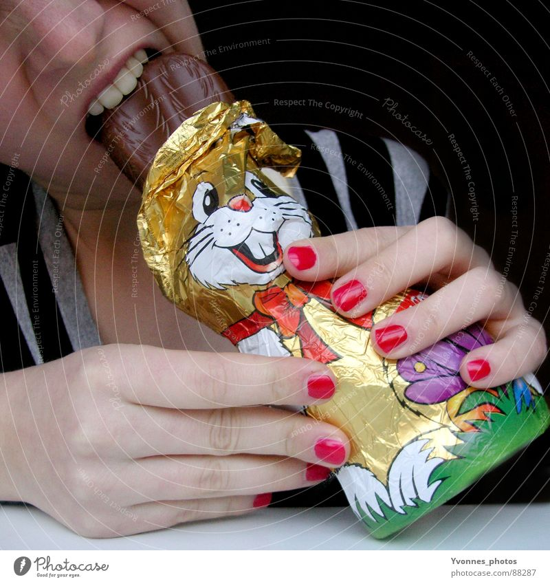 Easter shasha Chocolate Lips Stripe Fingernail Red Nail polish Avaricious Sin Chocolate easter rabbit Spring Style Funny Easter Bunny Nutrition Bite bite into