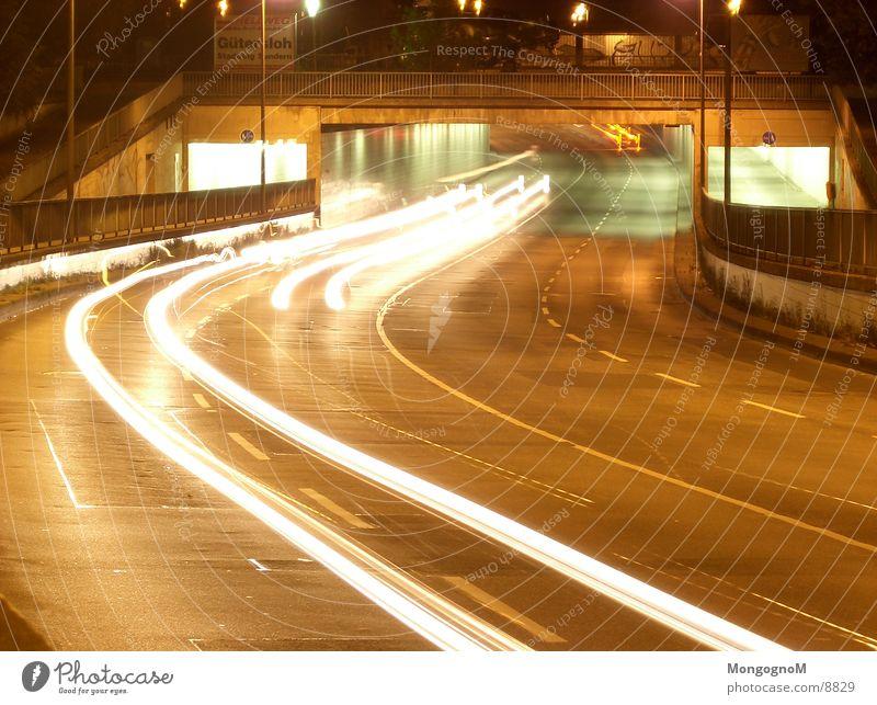 Car tunnel 3 Tunnel Night Speed Light Traffic lane Long exposure Bridge Street