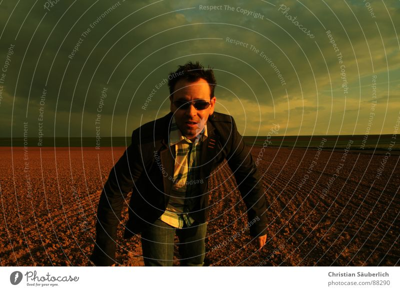 Come closer Going Field Meadow Horizon Sunset Looking Sunglasses Man Sky Loneliness Shadow christian neatly look back look over one's shoulder