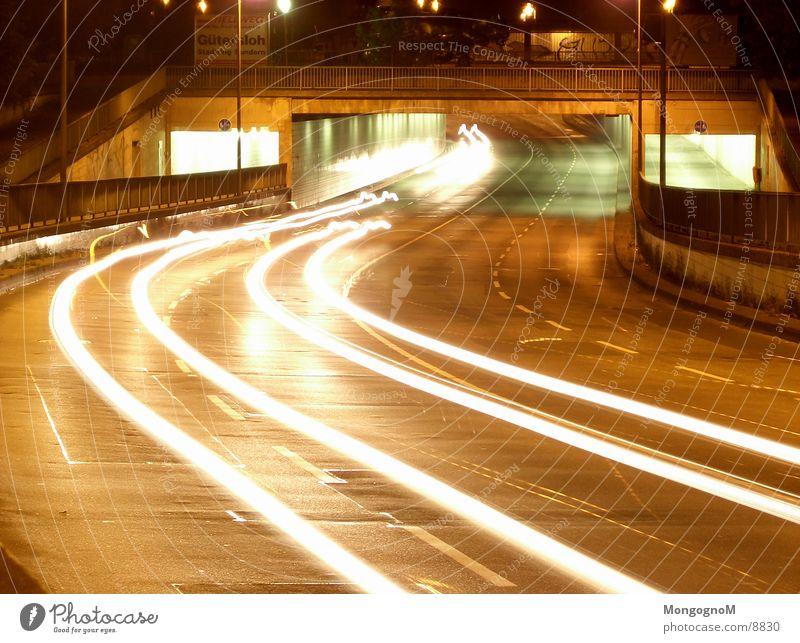 Car Tunnel II Night Light Speed Traffic lane Long exposure Bridge Street