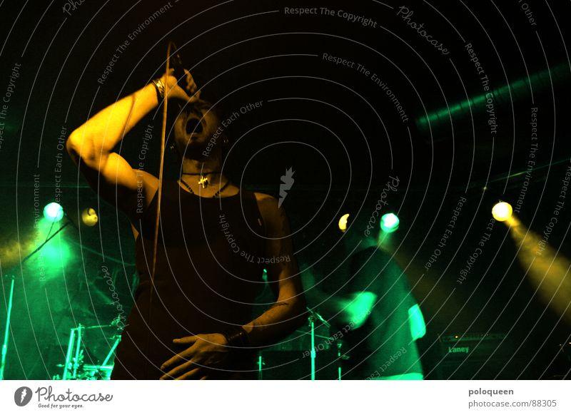 Green Joy Dark Music Dance Multiple Shows String Club Concert Smoke Scream Microphone Loud Sing