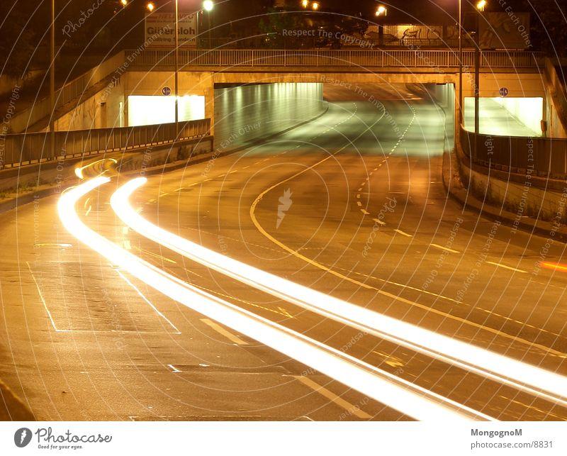 lane change Tunnel Night Light Speed Traffic lane Long exposure Bridge Street