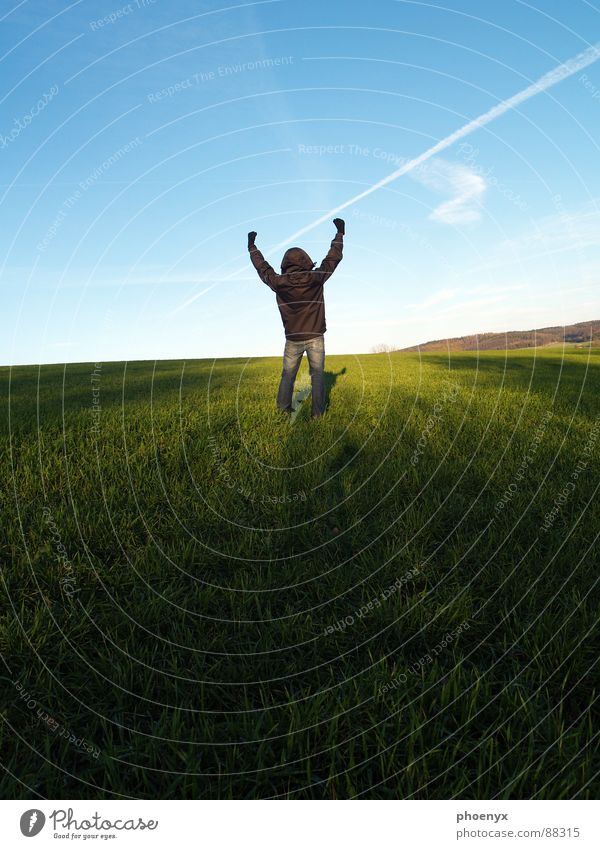 Human being Sky Blue Green White Hand Landscape Joy Clouds Dark Meadow Grass Freedom Bright Field Contentment