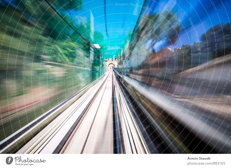 mission impossible Barcelona Means of transport Passenger traffic Train travel Rail transport Railroad Railroad tracks Driving Far-off places Speed Town Blue