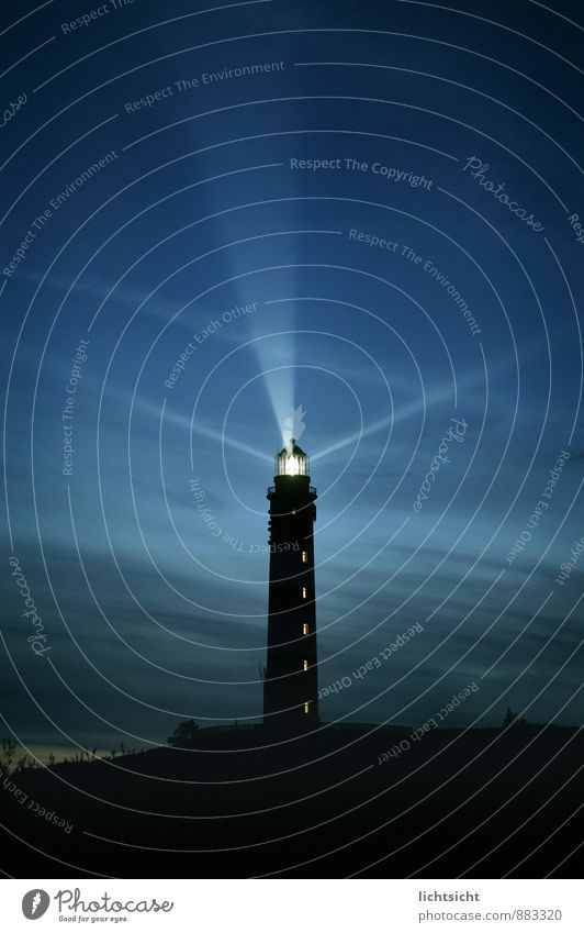 nightlight Landscape Sky Night sky Horizon Coast North Sea Ocean Island Lighthouse Tourist Attraction Landmark Navigation Illuminate Blue Radial Lighting Beacon