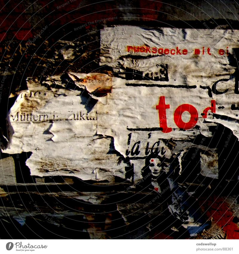 ruchsaecke with egg Poster Advertise Red Art Arts and crafts  Communicate Advertising ripped torn distressed grieved peeling off flaking tpography