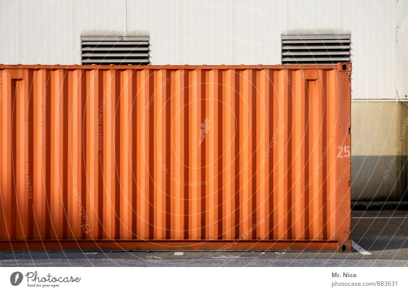 25 | UT Cologne Industrial plant Factory Container ship Logistics Digits and numbers Warehouse Orange Harbour Ventilation shaft Ventilation flap Parking area