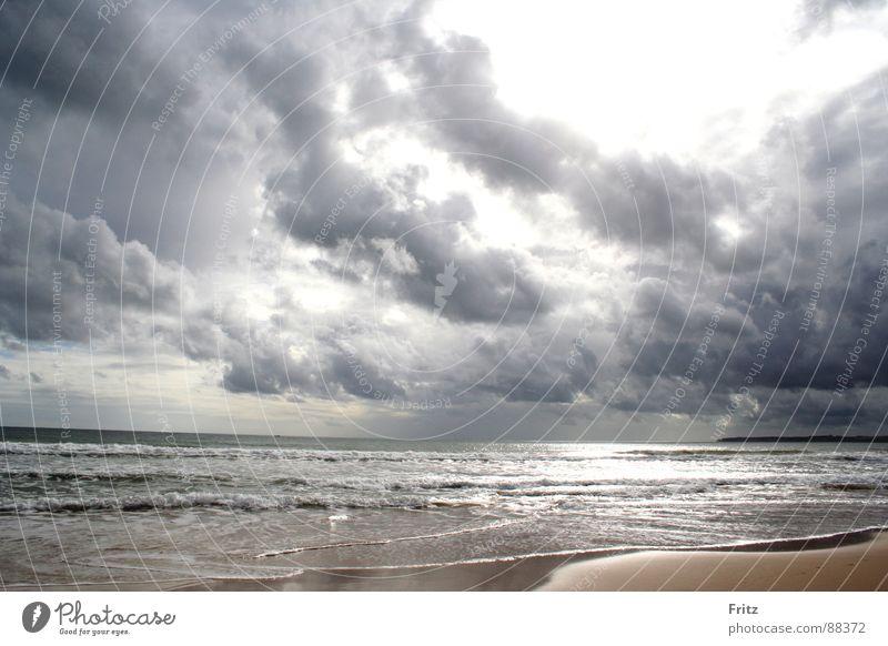 Ocean Beach Clouds Dark Waves Portugal Algarve