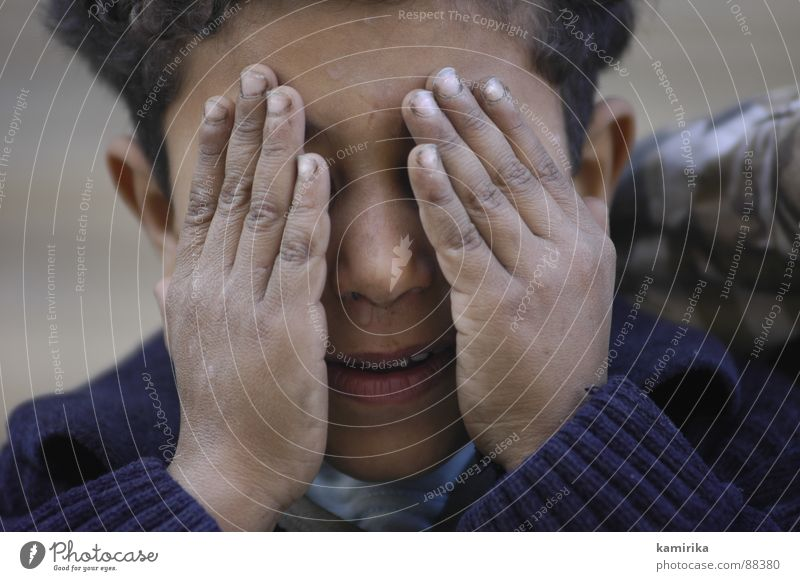 Child Hand Face Boy (child) Dream Sadness Fingers Grief Africa Discover Hide Cry Egypt