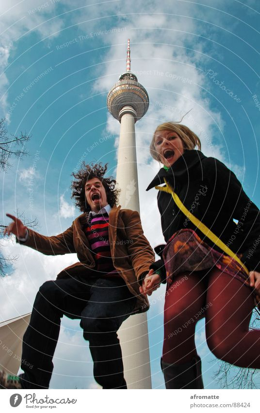 jumping tower Young woman Youth (Young adults) Young man Couple 2 Human being 18 - 30 years Adults Youth culture Sky Berlin TV Tower Capital city