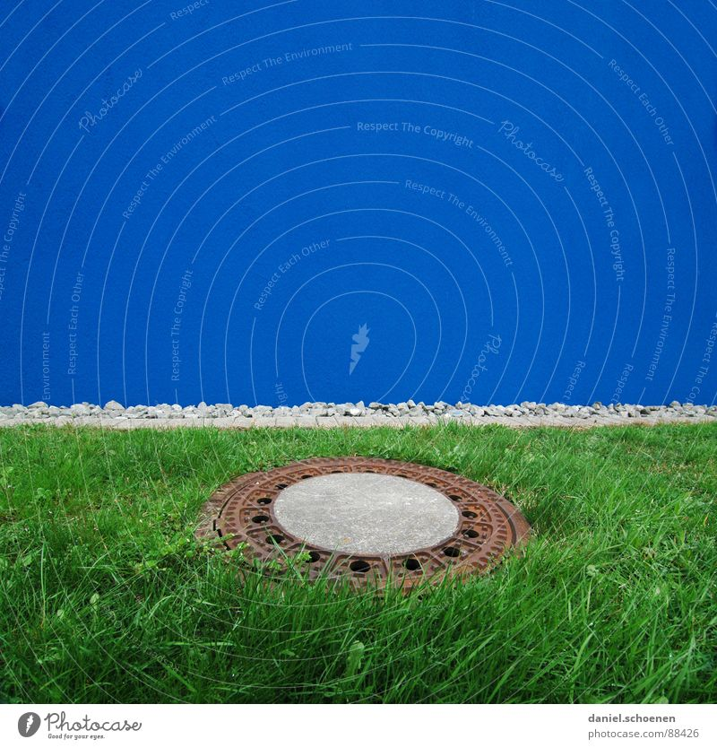blue-green circle Blue Green Grass Gully Facade Wall (building) Background picture Abstract Detail Sewer