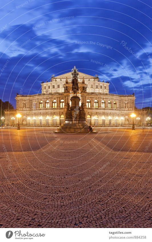 Semper Opera Opera house Dresden Architecture Night Twilight Landmark Saxony Germany Capital city Long exposure Vacation & Travel Travel photography Town