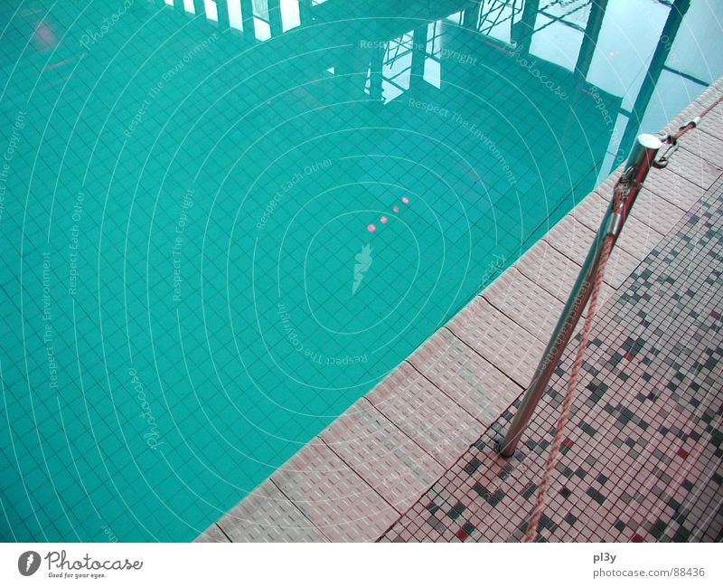 pool edge Swimming pool Indoor swimming pool Wuppertal Pool border Border Calm Turquoise Water Tile Blue Reflection