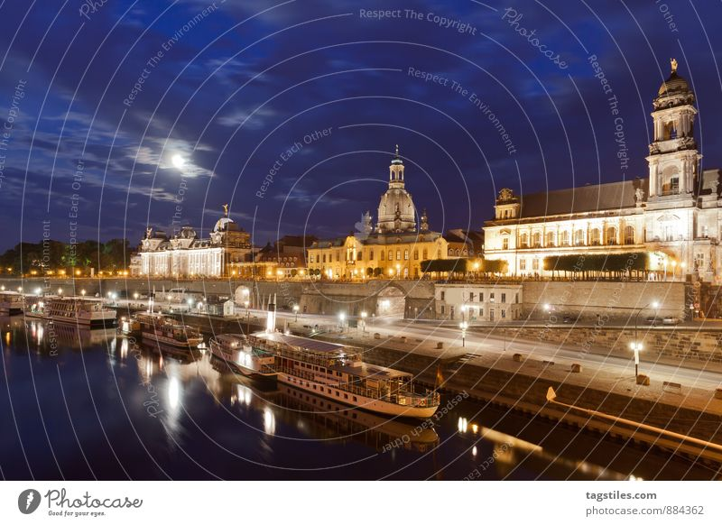 Vacation & Travel Relaxation Dark Travel photography Architecture Watercraft Germany Idyll Tourism Card Dresden Moon Saxony Elbe Moonlight Steamer