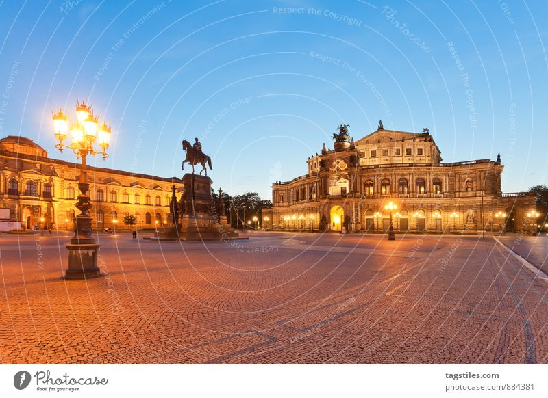 GOOD NIGHT, DRESDEN Semper Opera Theater square Opera house Dresden Architecture Night Twilight Landmark Saxony Germany Capital city Long exposure