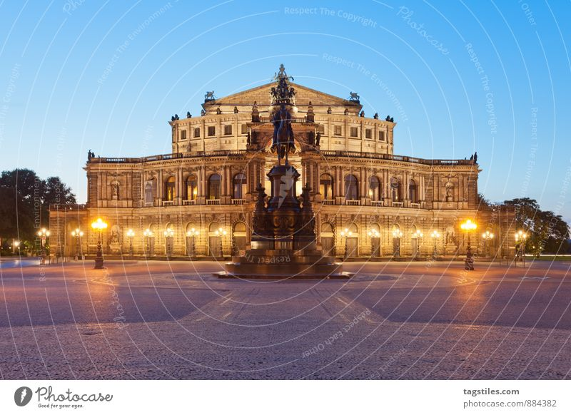 BLUE HOUR, DRESDEN Semper Opera Opera house Dresden Architecture Night Twilight Landmark Saxony Germany Capital city Long exposure Vacation & Travel