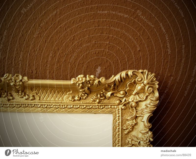 SPONSOR WANTED Picture frame Edge Bordered Work of art Kitsch Precious Cute Expensive Decoration Simple Brown Wall (building) Loneliness Empty Art Delicate