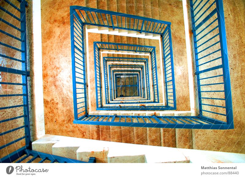 View into the depth Staircase (Hallway) White Concentrate Contrast Stairs Deep Room Blue Orange