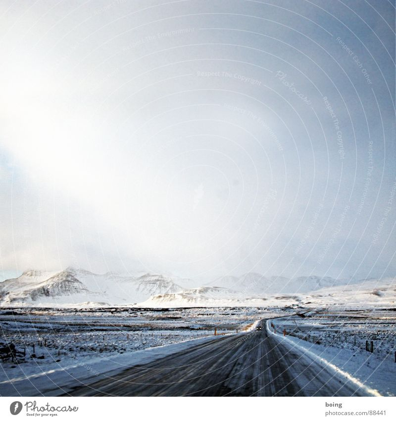 Winter Mountain Street Snow Contentment Ice Beautiful weather Iceland Uninhabited Direct Mountaineering Badlands Fairy Country road Elf Right ahead