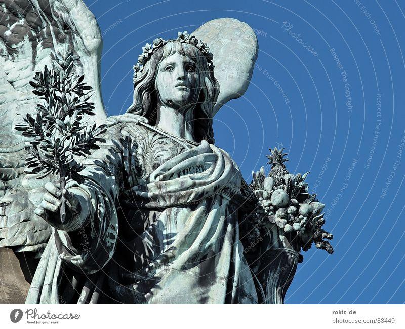 Send me an angel Fat Watchfulness Rüdesheim Germania Rheingau Statue Trumpet War Brass band music Loud Tin Bronze Bust Sculpture Monument God of war