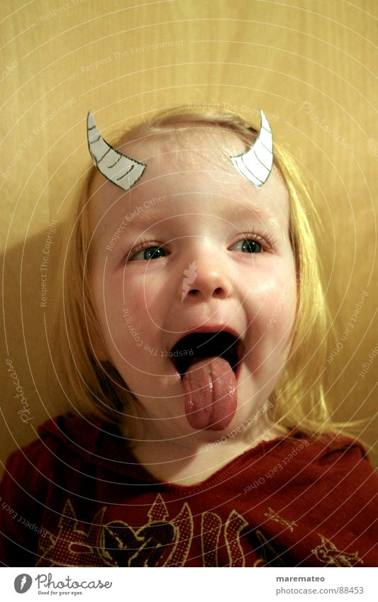 Child Girl Joy Playing Boy (child) Mask Carnival Antlers Kindergarten Brash Parenting Tongue Devil Cliche Plagues Thusnelda