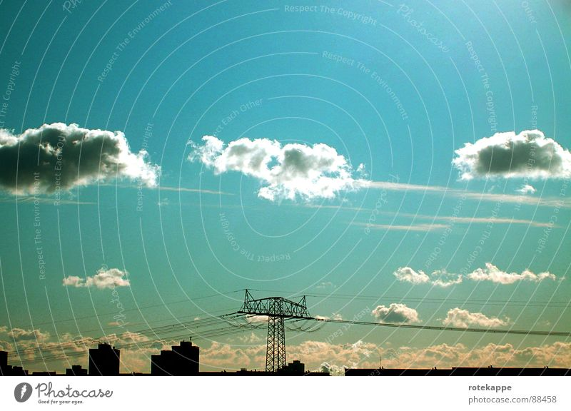 yesterday Calm Clouds Past Summer Completed Vantage point Light Electricity pylon House (Residential Structure) Time Sky Blue Transmission lines Skyline