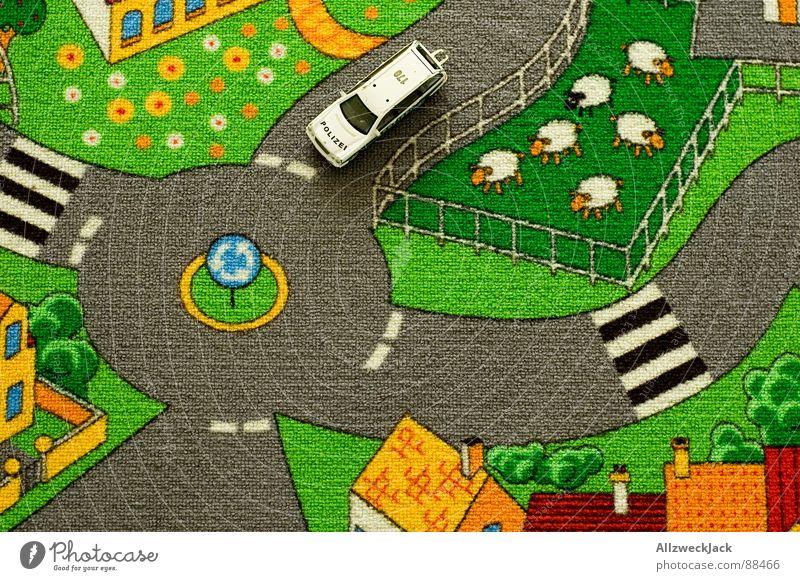 on patrol Police car Traffic circle Road traffic Urban traffic regulations Sheep Flock Village Bird's-eye view Conspiracy Giddy Kindergarten Play mat Carpet