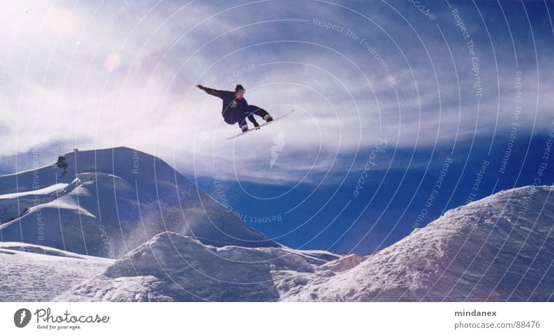 Blue Clouds Winter Snow Sports Playing Flying Jump Crazy Tall Beautiful weather Posture Snowcapped peak Brave Snowscape Snowboard